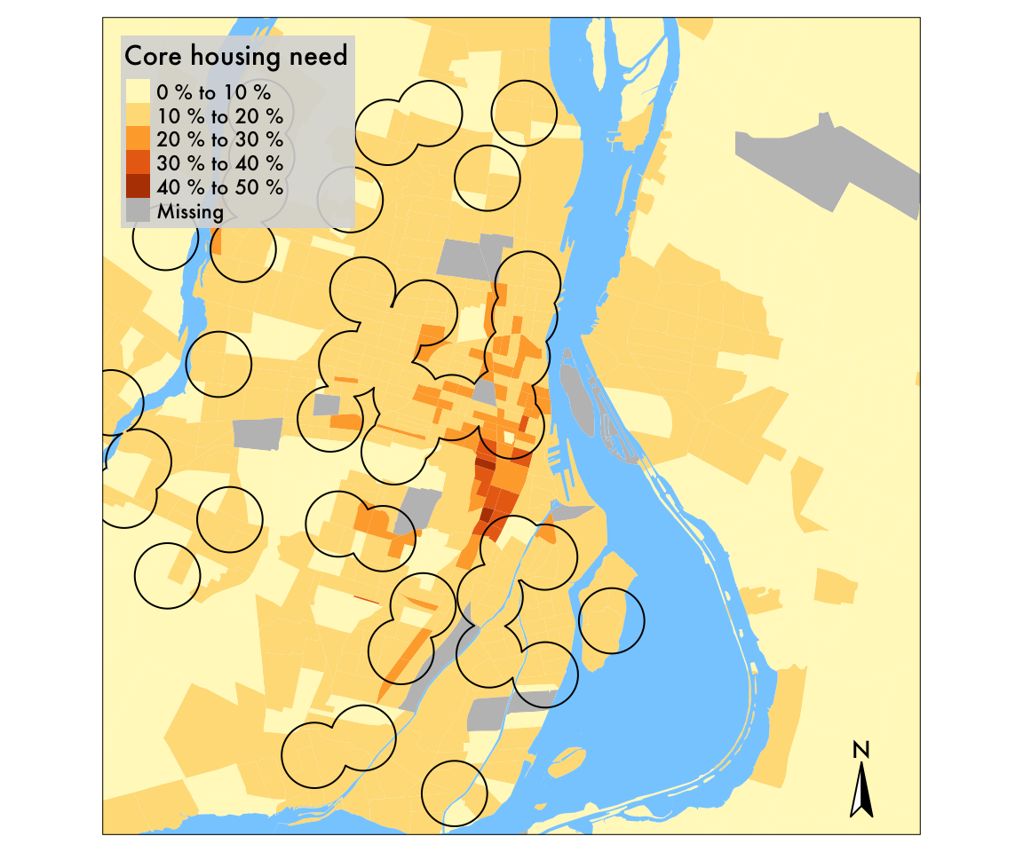 Distribution of housing need in Montreal. The core housing need is 57% higher within library walkshed than in the rest of the CMA.